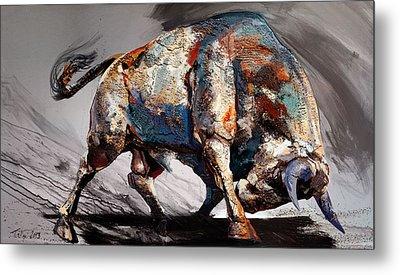 Bull Fight Back Metal Print by Dragan Petrovic Pavle