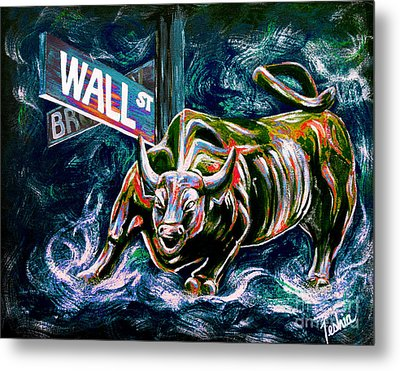 Bull Market Night Metal Print by Teshia Art