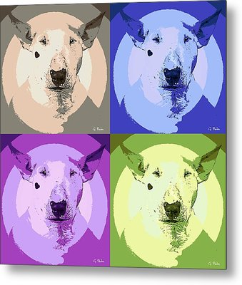 Bull Terrier Pop Art Metal Print by George Pedro