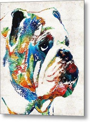 Bulldog Pop Art - How Bout A Kiss - By Sharon Cummings Metal Print by Sharon Cummings