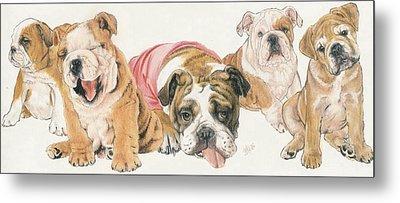 Bulldog Puppies Metal Print by Barbara Keith