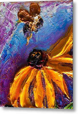 Bumble Bee And Yellow Flower II Metal Print by Paris Wyatt Llanso
