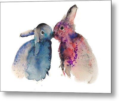 Bunnies In Love Metal Print by Kristina Bros