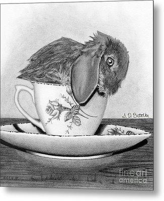 Bunny In A Tea Cup Metal Print by Sarah Batalka