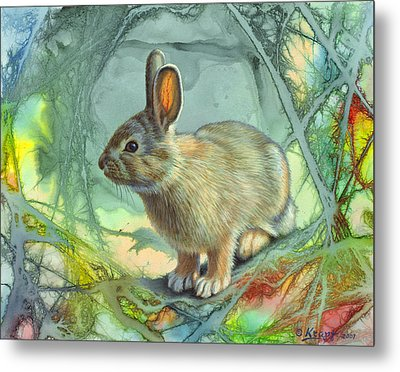 Bunny In Abstract Metal Print by Paul Krapf
