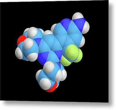 Buparlisib Experimental Drug Molecule Metal Print by Dr Tim Evans