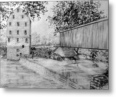 Burfordsville Bridge And Bollinger Mill Metal Print by James Pinkerton