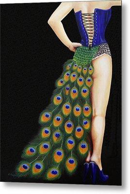 Burlesque Blue Metal Print by Karen  Loughridge