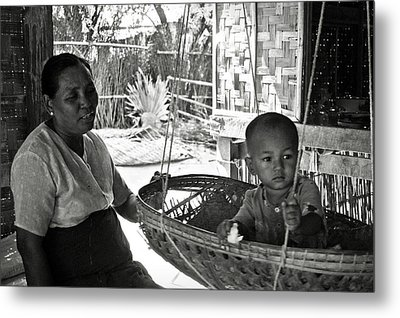 Burmese Grandmother And Grandchild Metal Print by RicardMN Photography