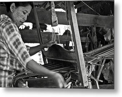 Burmese Woman Working With A Handloom Weaving. Metal Print by RicardMN Photography