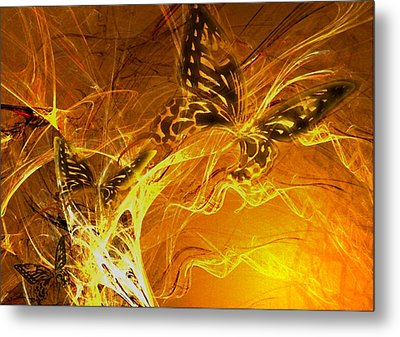 Burning Butterflies Metal Print by Ela Zakrzewska