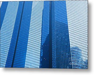 Business Skyscrapers Modern Architecture In Blue Tint Metal Print by Michal Bednarek