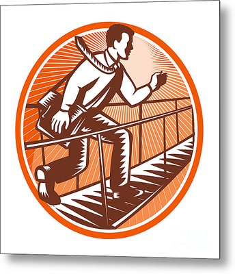 Businessman Satchel Bag Running Bridge Metal Print by Aloysius Patrimonio