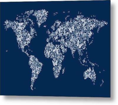 Butterflies Map Of The World Map Metal Print by Michael Tompsett