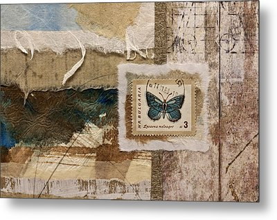 Butterfly And Blue Collage Metal Print by Carol Leigh