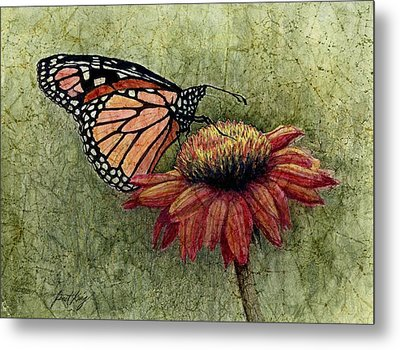 Butterfly In My Garden Metal Print by Janet King