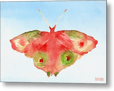 Butterfly Red And Green Watercolor Art Print Metal Print by Beverly Brown