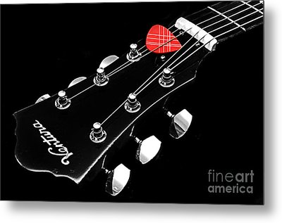 Bw Head Stock With Red Pick  Metal Print by Andee Design