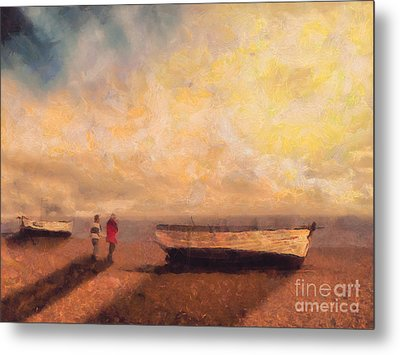 By The Boats Metal Print by Pixel Chimp