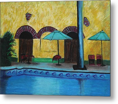 By The Poolside Metal Print by Jeanne Fischer