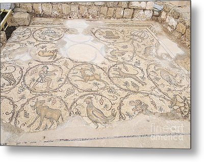Byzantine Mosaic Depicting Animals And Hunting Scenes. Metal Print by Shay Levy
