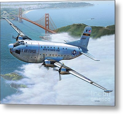 C-124 Shakey Over The Golden Gate Metal Print by Stu Shepherd