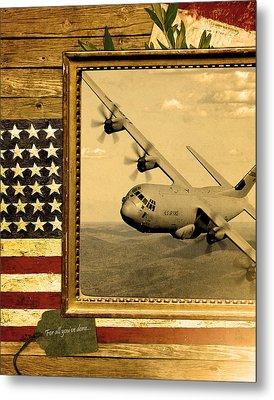 C-130 Hercules Rustic Flag Metal Print by Reggie Saunders