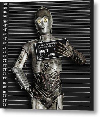 C-3po Mug Shot Metal Print by Tony Rubino