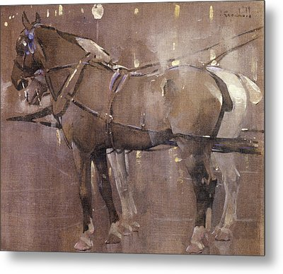 Cab Horses By Gaslight  Metal Print by Joseph Crawhall