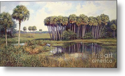 Cabbage Palms Metal Print by Laurie Hein