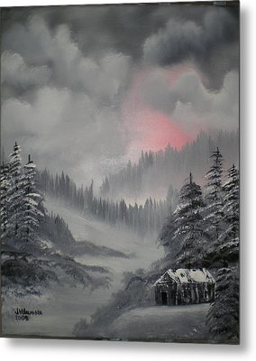 Cabin In The Winter Forset Metal Print by James Waligora