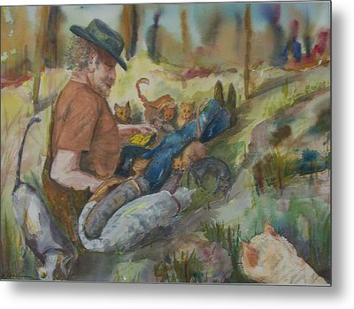 Caboodle Ranch Cats Metal Print by Barbara McGeachen