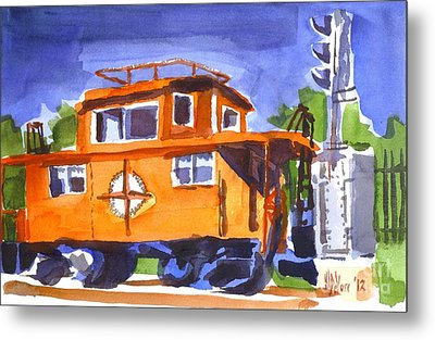 Caboose With Silver Signal Metal Print by Kip DeVore