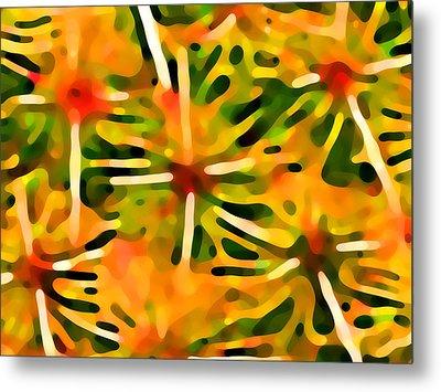 Cactus Pattern 3 Yellow Metal Print by Amy Vangsgard