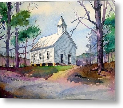 Cades Cove Church Metal Print by Spencer Meagher