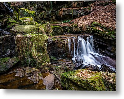 Cadshaw Brook Waterfall. Metal Print by Daniel Kay