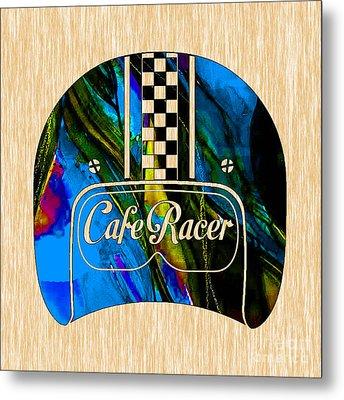Cafe Racer Motorcycle Helmet Metal Print by Marvin Blaine