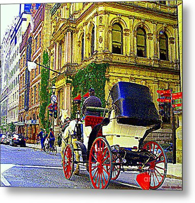 Caleche Ride By The Hotel Le St James Vieux Port Montreal Old World Charm And Elegance C Spandau Art Metal Print by Carole Spandau