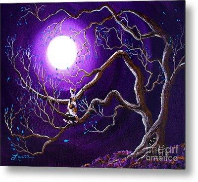 Calico Cat In Haunted Tree Metal Print by Laura Iverson