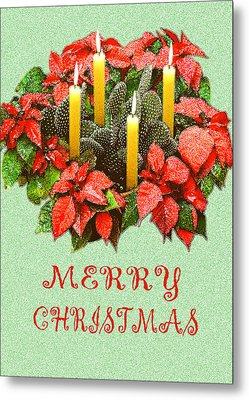 California Cactus Christmas Metal Print by Mary Helmreich