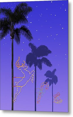 California Christmas Palm Trees Metal Print by Mary Helmreich