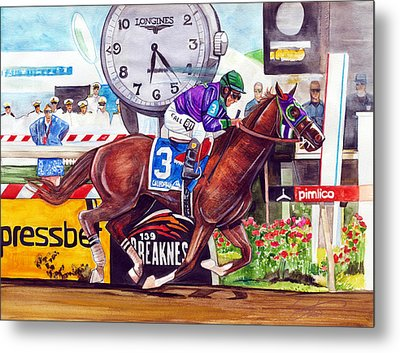 California Chrome Wins The Preakness Stakes Metal Print by Dave Olsen