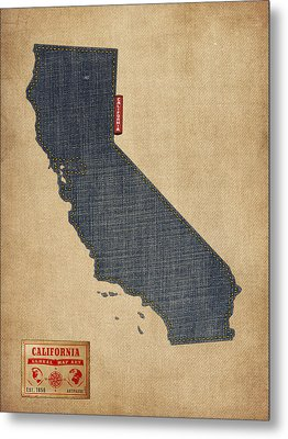 California Map Denim Jeans Style Metal Print by Michael Tompsett