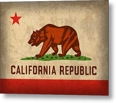 California State Flag Art On Worn Canvas Metal Print by Design Turnpike