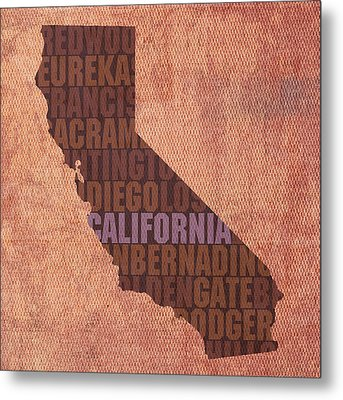 California Word Art State Map On Canvas Metal Print by Design Turnpike