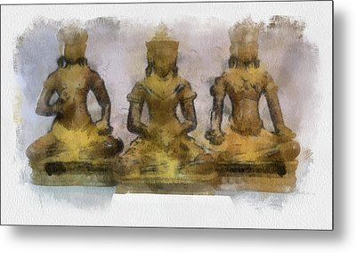 Cambodia Antique Temple Metal Print by Teara Na