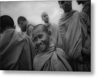Cambodian Novice Smiles Metal Print by David Longstreath