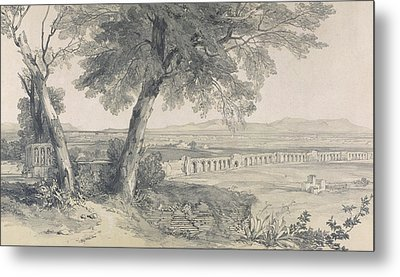 Campagna Of Rome From Villa Mattei Metal Print by Edward Lear