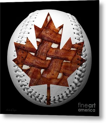 Canadian Bacon Lovers Baseball Square Metal Print by Andee Design