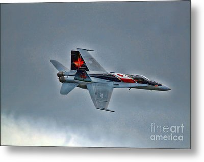 Canadian Cf18 Hornet Fly By Metal Print by Cathy  Beharriell